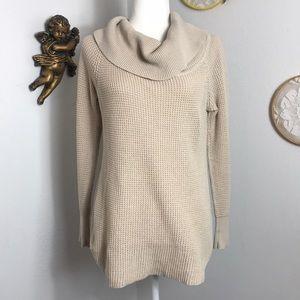 Anthro Quinn cream cowl neck knit sweater